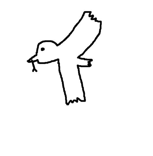 鳥が食べ終わったあと飛んで
